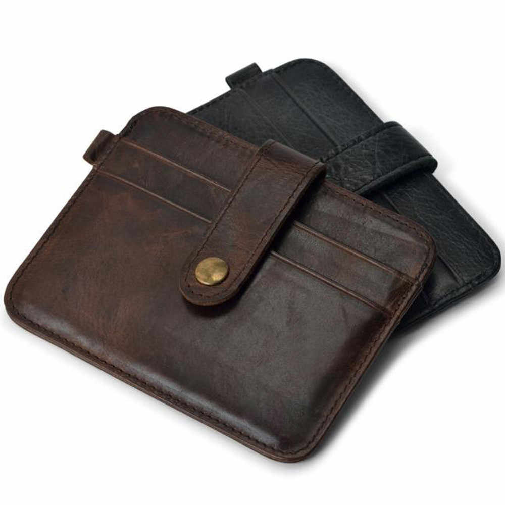 Ретро Кожаный Кошелек с зажимом для денег для мужчин в деловом стиле сплошной цвет мульти карманы кредит наличными держатель для карт мужской кошелек для монет