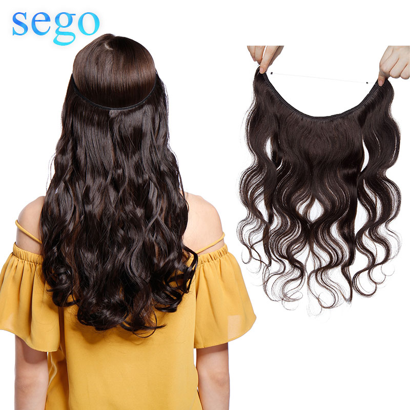 SEGO 60g-75g 16-22inch Body Wave Flip In Hair Extension 100% Real Human Hair Non-Remy  Invisible Weft Wire Fish Line Hairpiece