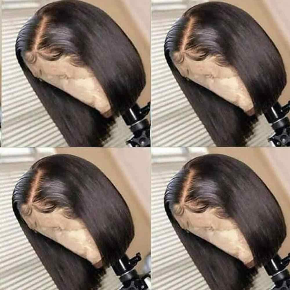 4*4 Silk baza peruka dla damskie ludzkie włosy koronkowa peruka brazylijski Remy włosy Natural Color krótki bob zamknięcie peruka z dzieckiem włosy wolna część