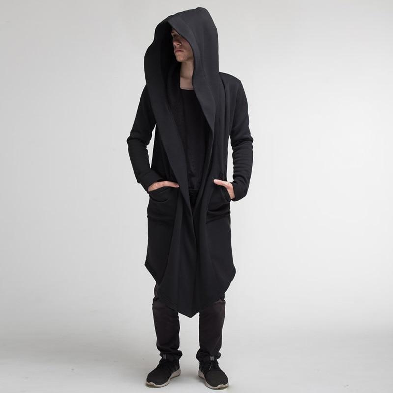 2020 New Men Hooded Sweatshirts Jacket Long Cardigan Cloak Coat Sweater Hoodie Mens Coats Hip Hop Mantle Hoodies Autumn Winter 4