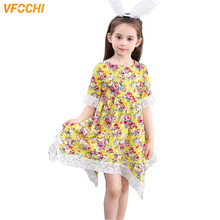 VFOCHI 2019 Girl Dresses Summer Girls Beach Clothes Asymmetrical Lace Baby Kids for 3-12Y Casual tutu