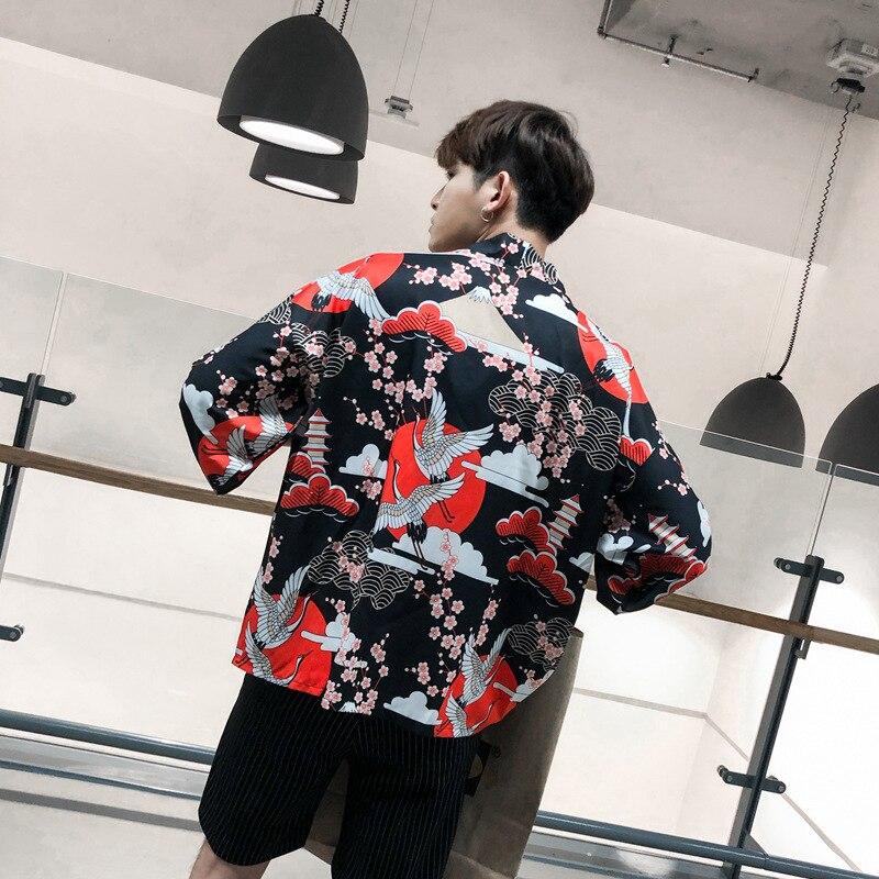 Women Men Kimono Cardigan Japanese Style Traditional Samurai Print Loose Top Jackets Fashion Coat Asian Clothes Cosplay Costumes