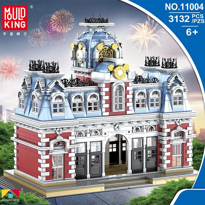 Lepining Creator Toys Model-Kit Bricks Building-Blocks The-Train-Station City MOC Street-Series