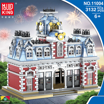 MOC Lepining Creator City Street Series The Train Station Of Dreamland Bricks Model Kit Building Blocks Toys For Children DIY lepin 05072 star plan series the limited edition malevolence warship set building blocks bricks diy 9515 toys model for children