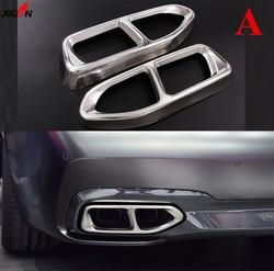 Srebrny podwójny tłumik końcówka rura wydechowa pokrywa zgrabna 2 sztuk dla BMW serii 7 G11 G12 2016 2017 w Tłumiki od Samochody i motocykle na
