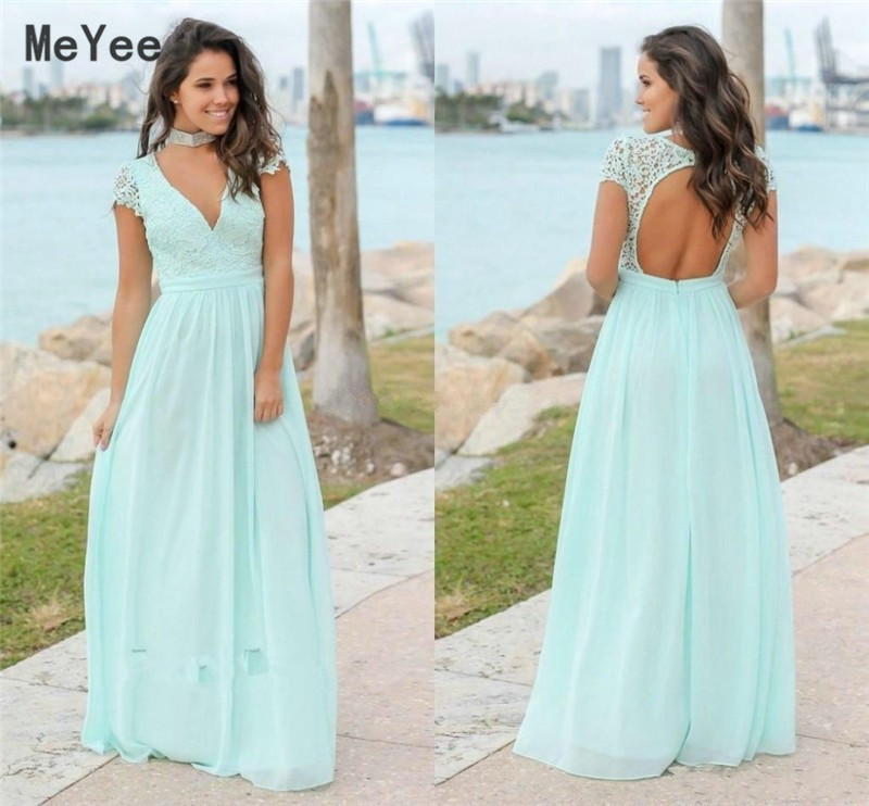Country Long Chiffon Bridesmaid Dresses 2020 Lace Top V Neck Short Sleeves Open Back Maid of Honor Wedding Guest Gowns Custom