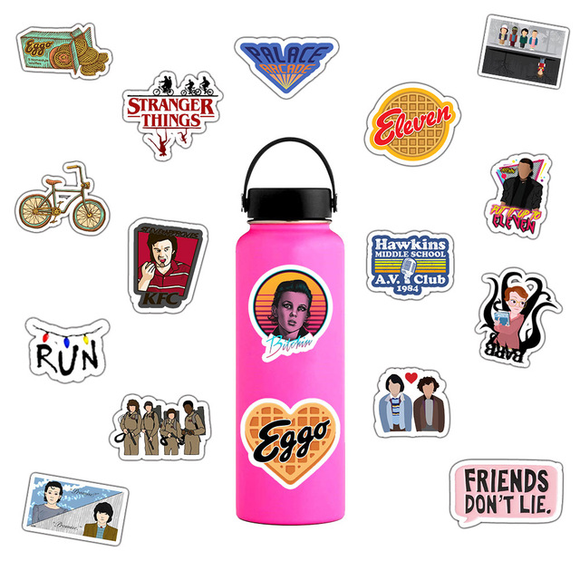 50 unids/pack Stranger Things pegatinas impermeables
