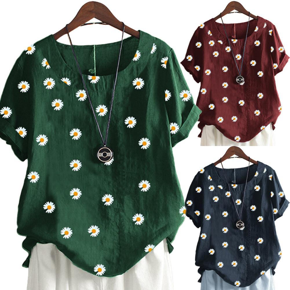 Casual Women Summer Plus Size T-shirt O Neck Short Sleeve Tshirt Loose Cotton Linen Marguerite Print Tops Femme Beach Streetwear