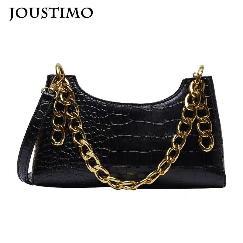 Women Leather Handbags Luxury Brand Crossbody Totes 2020 New Fashion Alligator Big Chain Baguette Lady's Shoulder Messenger Bags