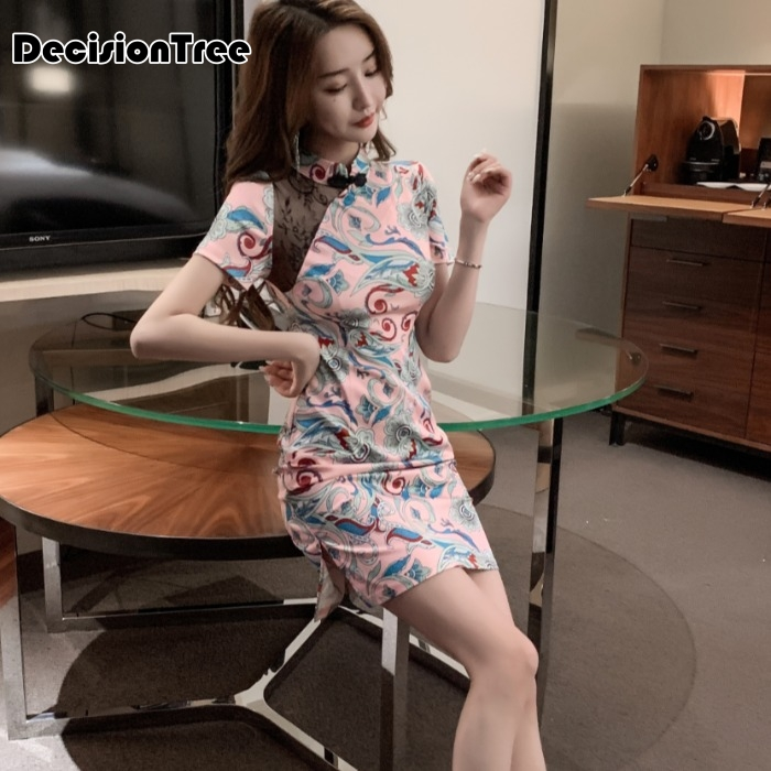 2020 Women Sexy Chiffon Dress Print Flower Chinese Style Evening Party Qipao Handmade Button Vintage Cheongsam