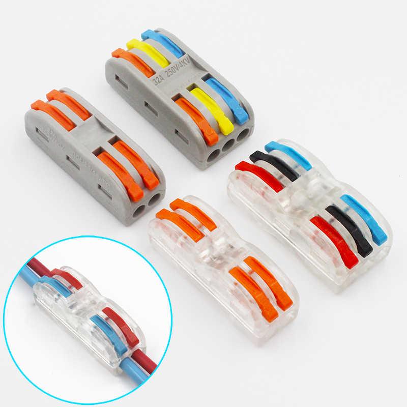 חוט מחבר מהיר מסוף בלוק תקע מתאם אפור/שקוף צבע 32A RF, תאורת 30/50/100 חתיכות מיני אוניברסלי