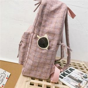 Image 5 - チェック柄リュックファッション女性バックパック学生ショルダーバッグ旅行十代の少女スクールバッグ mochilas 女性子供の学生のバック