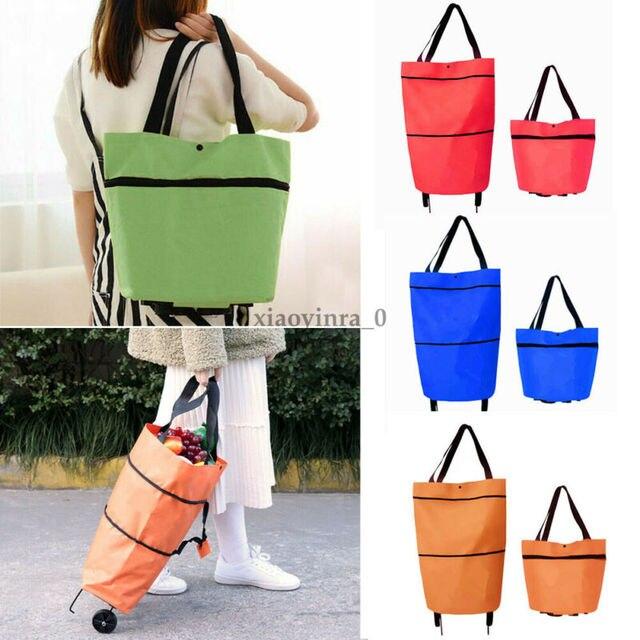 2020 Foldable Shopping Trolley Cart Foldable Reusable Eco Large Waterproof Bag Luggage Wheels Basket Non-Woven Market Bag Pouch 1