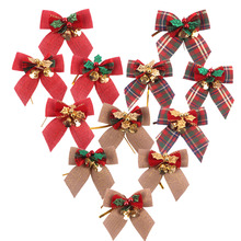 Christmas Bow With Iron Bells Home Festival Room Christmas  Tree Wreath Hanging Decorations Party Garden Outdoor Bell