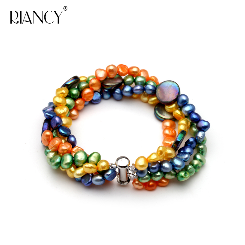 Fashion Multicolor Freshwater Pearl Multi-layer Bracelet  Simple Retro And American Style Baroque Pearl Bracelet Send Girl