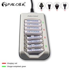 Image 2 - Зарядное устройство PALO 8 слотов AAA AA, зарядное устройство s, светодиодный светильник, умное зарядное устройство для батарей ni mh, aa, aaa, зарядное устройство s, US, EU, UK, AU, быстрое зарядное устройство