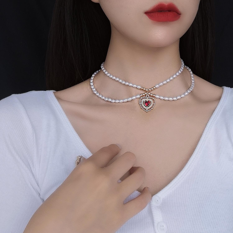 HUANZHI 2020 Новый Французский Винтаж двухслойный искусственный жемчуг красное сердце чокер короткая цепочка ожерелье для женщин вечерние ювел...