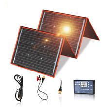 Dokio 18V 160W Panel słoneczny 12V elastyczny składany Panel słoneczny usb przenośny zestaw ogniw słonecznych do łodzi na zewnątrz kemping samochód RV 150W tanie tanio None 70*50*1 2cm FFSP-160M 36*2 Monocrystalline Silicon
