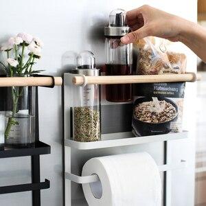 Image 4 - Магнитная адсорбционная боковая стойка для холодильника, настенная многофункциональная стойка для бумажных полотенец, стойка Органайзер