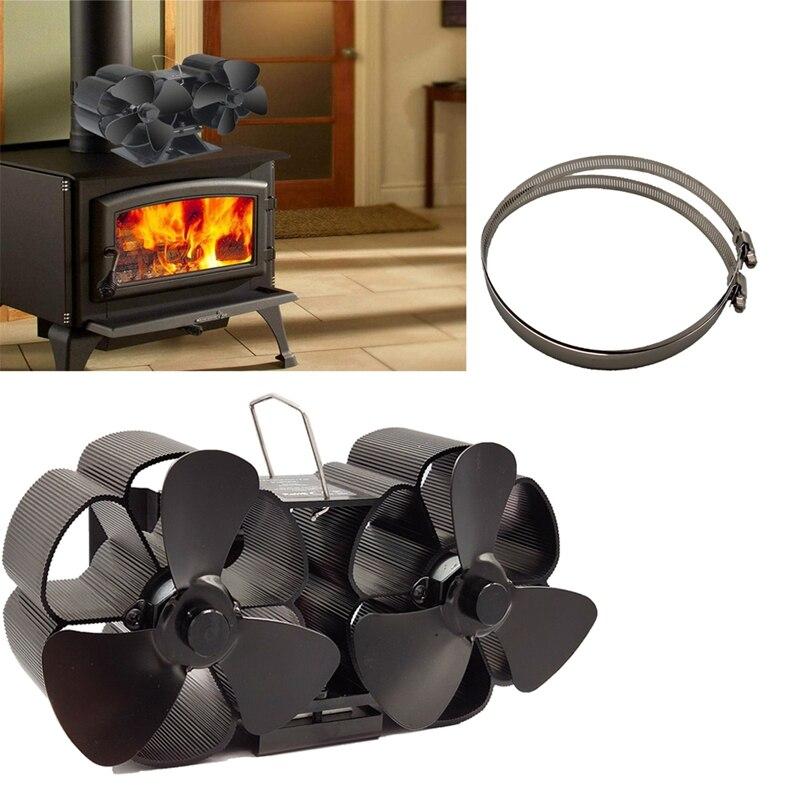 HHO-Mini Size 8 Blade Stove Fan Silent Heat Powered Wood Log Burner Fan Fan Fireplace For Ultra Small Space