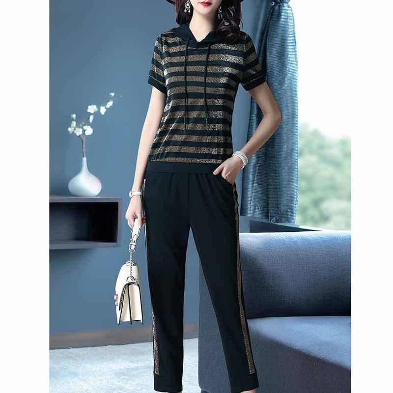 Ozhouzhan WOMEN'S Suit Summer 2019 New Style Elegant Hoodie Striped Shirt Base Skinny Pants Two-Piece Set