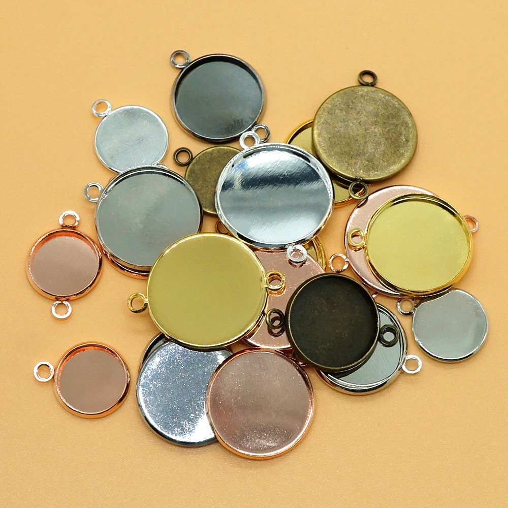 20pcs 12mm-25mm Blank Pendant Base Round Connector Cabochon Settings Bezel Trays For Necklace Bracelet Earring  Jewelry Making