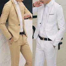 2020 New Male Wedding Prom Suit Solid Color Slim Fit  Men Formal Business Work Wear Suits 2Pcs Set (Jacket+Pants) Blazer Pants