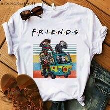 Летняя модная футболка в стиле Харадзюку для друзей на Хеллоуин; женская футболка в стиле ужасов; женская Повседневная футболка с коротким рукавом; модная футболка;