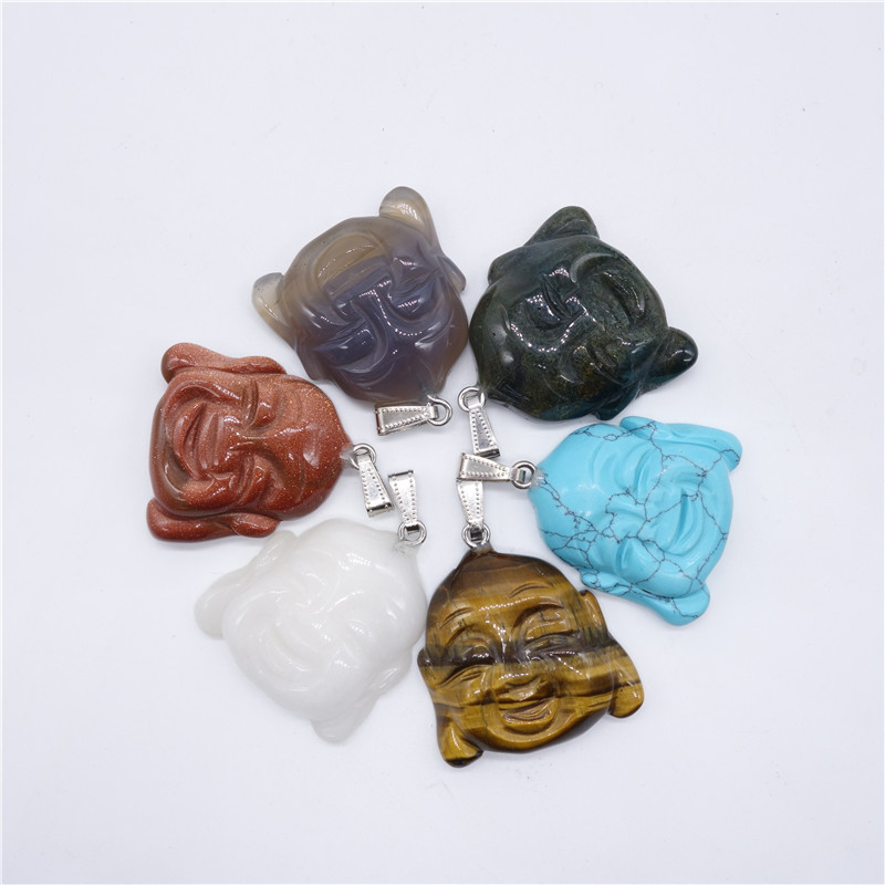 Natural Stone Charm 1PCS DIY Stone Pendant Maitreya Stone Pendant Charm Necklaces Jewelry Making Free Shipping