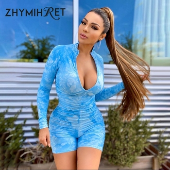 ZHYMIHRET 2020 Summer Zipper Front Playsuit Women Fittness Long Sleeve Skinny Rompers Streetwear Sexy Tie Dye Ruched Bodysuit