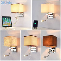 American LED Wall Bedside Lamp USB Port Fabric Sconces Hotel Bedroom Living Room Flexible E27 Wall Light for Reading