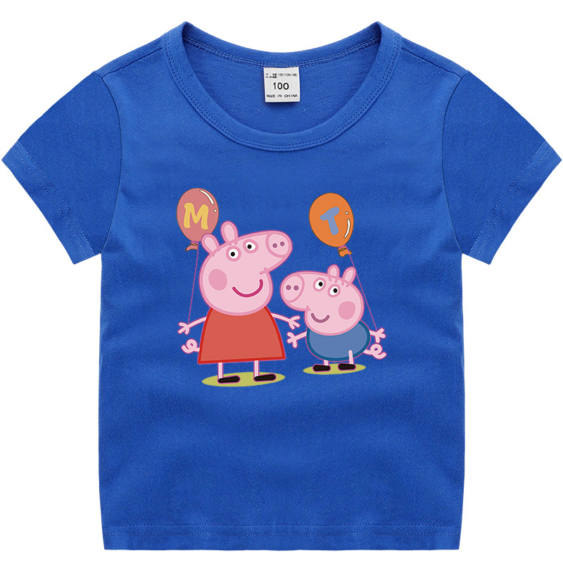 Peppa Pig George Summer Baby Girl Cartoon T-shirt Kid Clothes Chase Rocky Short Sleeve Cotton T-shirt Clothes 2-11Y