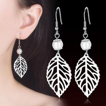 NEHZY 925 sterling silver new Jewelry High Quality Woman Fashion Earrings Retro Long Tassel Hollow Leaf Pop Hook - discount item  40% OFF Fine Jewelry