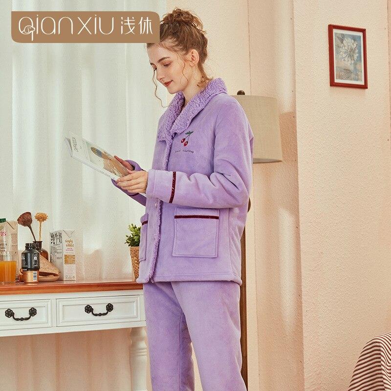 Cute cherry Pattern Winter Flannel Pajamas Set For Women Plush Fabric cardigan Sleepwear woman Pyjamas Suit Home Clothing - 3