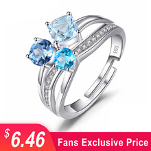 JewelryPalace Infinity 1.7ct Multi Color Genuine Gemstone Blue Topaz White Topaz 3 Stone Open Adjustable Ring 925 Sterling Silve