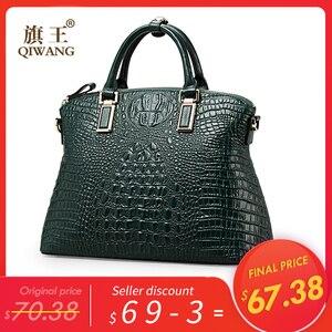Image 2 - Qiwang Authentic Women Crocodile Bag 100% Genuine Leather Women Handbag Hot Selling Tote Women Bag Large Brand Bags Luxury