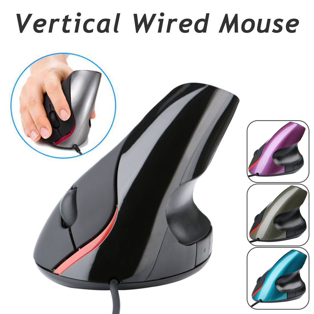 Etmakit New Ergonomic Design USB Vertical Optical Mouse Wrist Healing For Computer PC Laptop Desktop Prevention Mouse