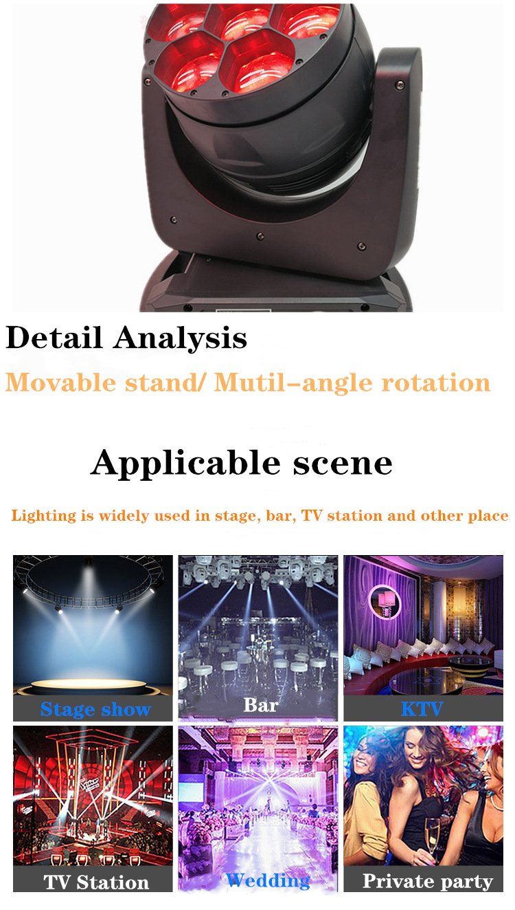 H52b8823347894e519c7ff811f56070a0A - LED 7X18W Wash Light RGBWA+UV 6in1 Moving Head Stage Light DMX Stage Light DJ Nightclub Party Concert Stage Professional