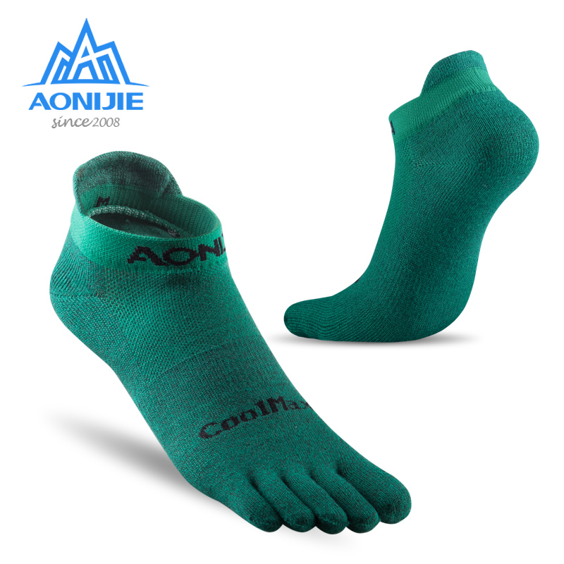 AONIJIE E4109 One Pair Lightweight Low Cut Athletic Toe Socks Quarter Socks for Five Toed Barefoot Running Shoes Marathon Race
