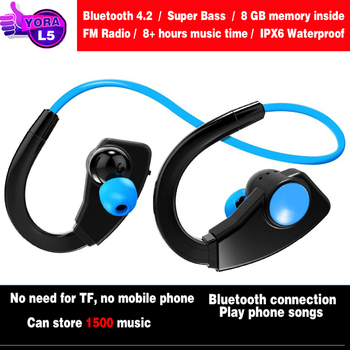 Bluetooth Headphones Mp3 Music Player Sport Wireless Waterproof Earbuds Built in 8GB Memory Storage Wearable Headset for Running
