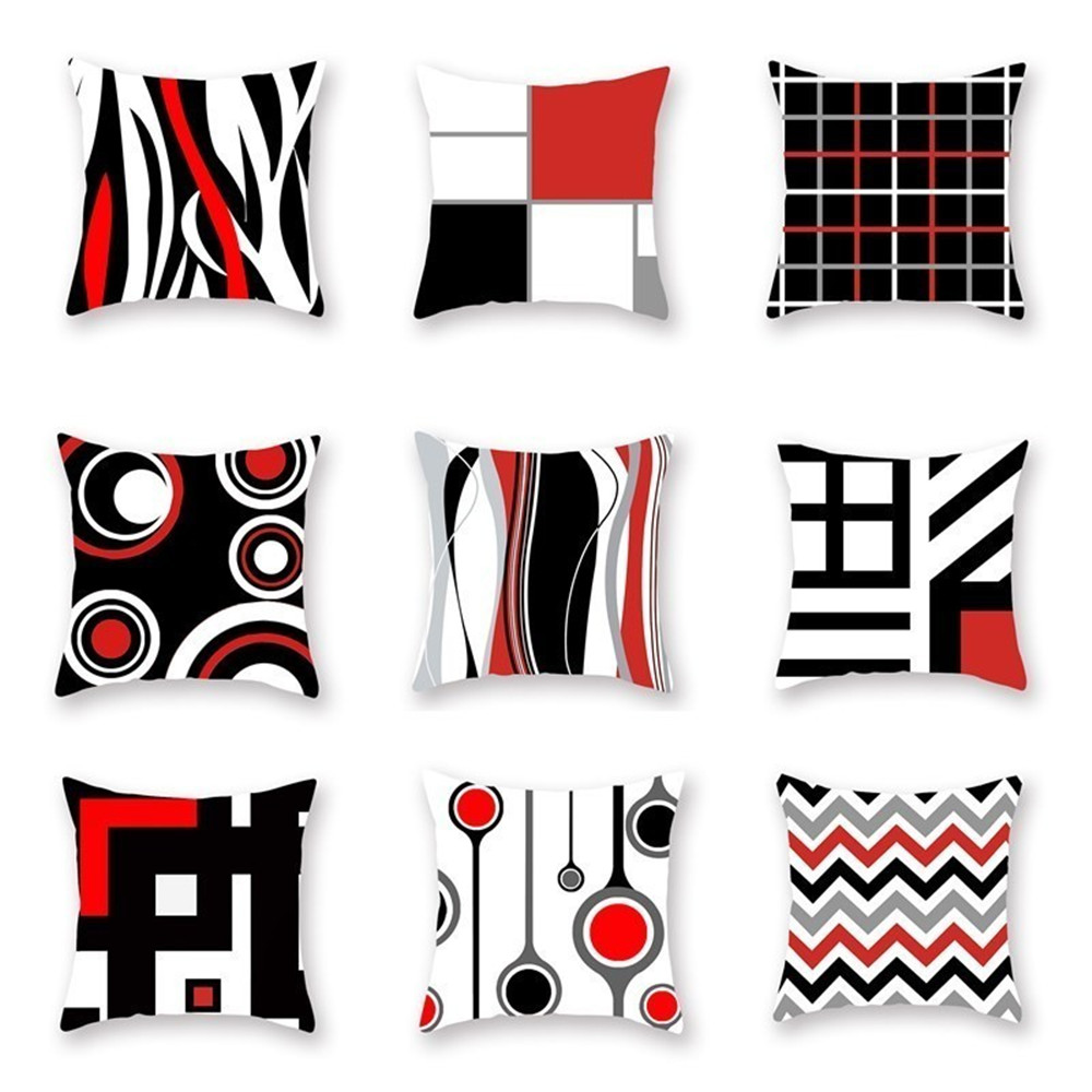 2019 Geometric Cushion Cover Red Black 45*45cm 100% Polyester  Plaid Pattern Pillow Case For Sofa Living Room Hotel Pillowcase