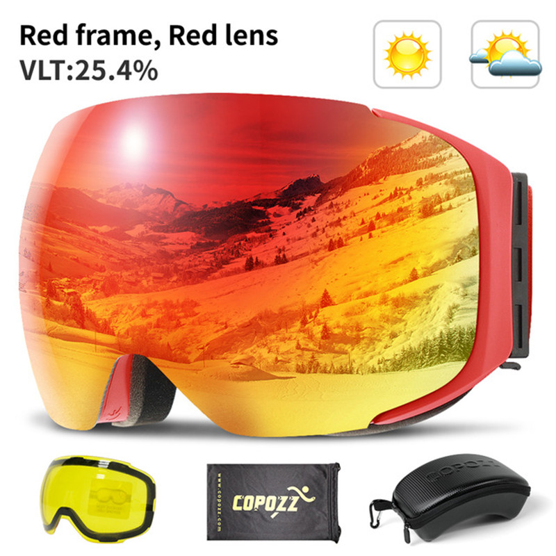 COPOZZ Magnetic Ski Goggles Anti-fog Snowboard Goggles 100% UV400 Protection With Quick-change Lens And Case Set For Men & Women