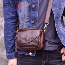 лучшая цена AETOO Retro oil wax leather men's Messenger bag head layer leather cross section flip summer casual phone bag