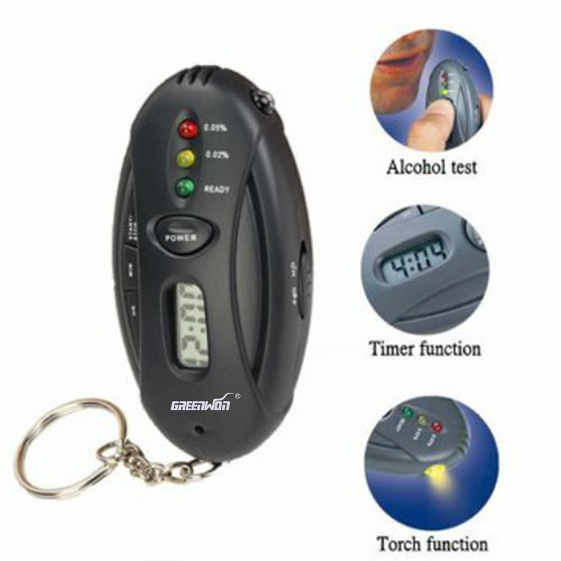 GREENWON <font><b>Car</b></font> <font><b>electronics</b></font> <font><b>key</b></font> chain alcohol tester digital alcohol blood breathing analysis tester with timer image