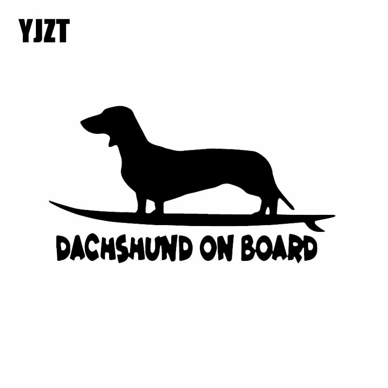 YJZT 16X8.8CM Funny Dog Decal Vinyl Car Sticker Window Decor Dachshund On Board Black/Silver C24-1624