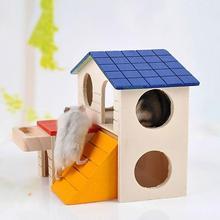 Прекрасный двухслойный деревянный хомяк спящий шлифовальный домик для домашних животных с кормушкой для кормления товары для домашних животных