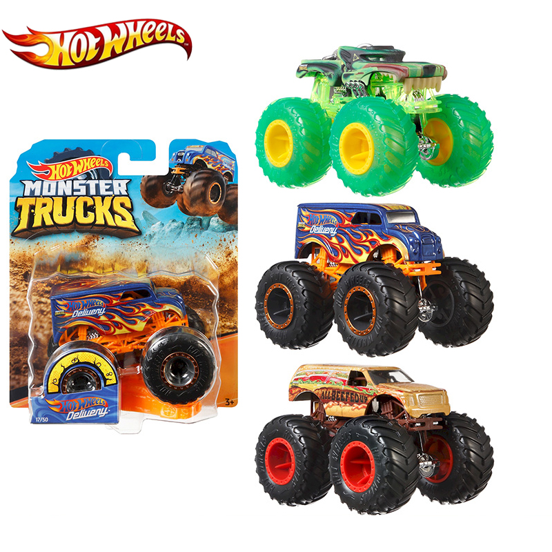Original 1:64 Hot Wheels Monster Trucks Metal Car Toy Hotwheels Giant Wheels Big Foot Collection Wild Collision Car Toys FYJ44
