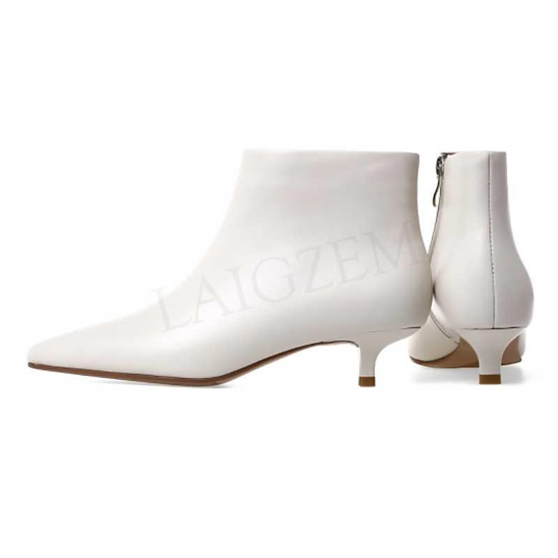 LAIGZEM deri kadın ayak bileği patik yavru kedi topuklu yan Zip rahat kış çizmeler ayakkabı kadın Botines Mujer büyük boy 33 42 43