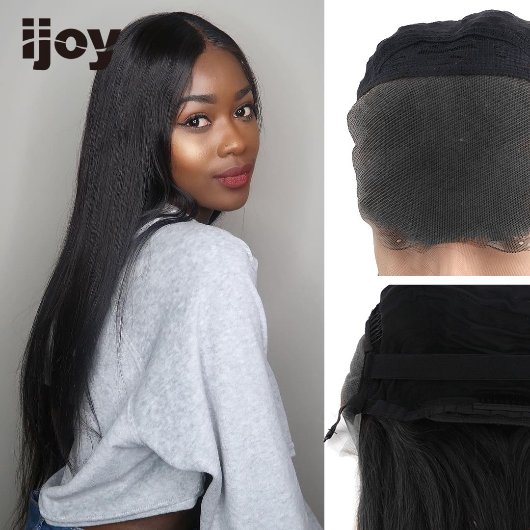 Human Hair Wigs 13×4 Lace Front 8''-28'' H #1B Obsidian Black Straight Wigs 150% Denisty Brazilian Human Hair Non-Remy Wig IJOY