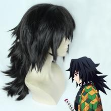 Demon Slayer Kimetsu ไม่มี Yaiba Tomioka Giyuu ธรรมชาติสีดำความร้อนทน COSPLAY Wigs + หมวกวิกผม